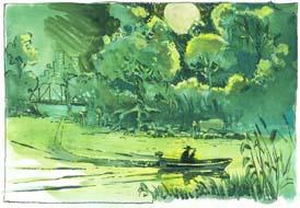 Mann auf dem Fluss