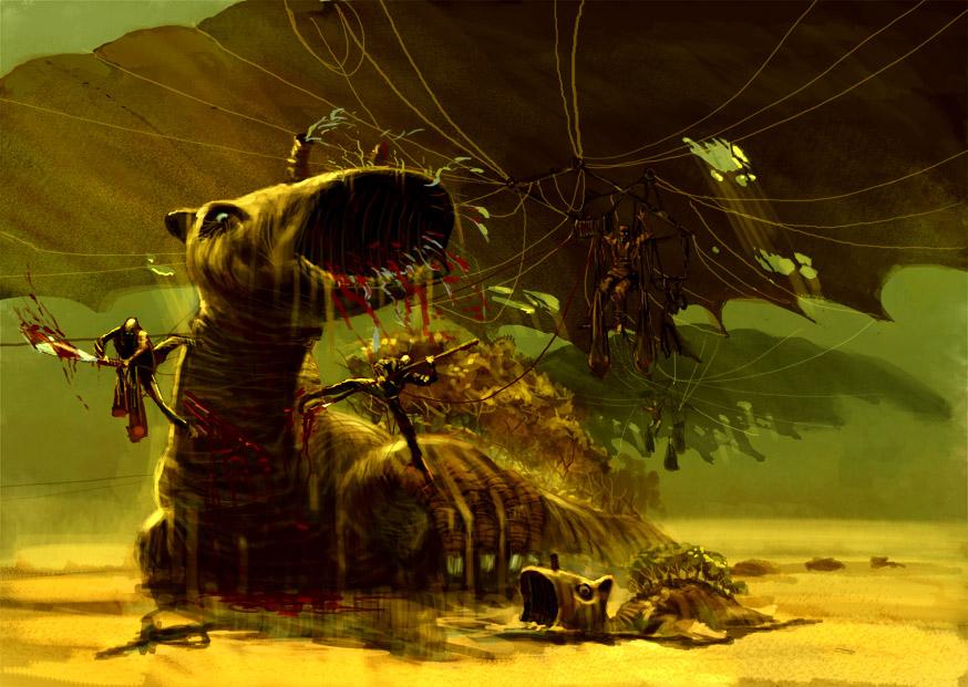 Wndmenschen jagen Sandkuh